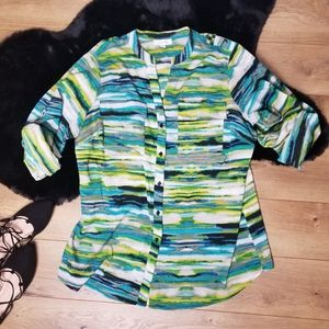 Calvin Klein Button Down Blouse Abstract Pattern